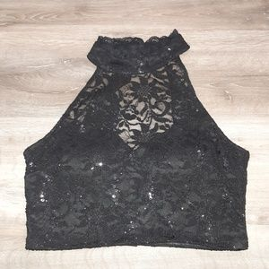 Stunning B. Darling black lace crop top